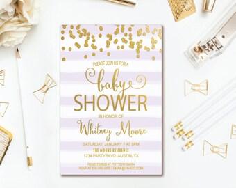 Purple Stripe Baby Shower Invitation Gold Confetti Girl Baby Shower - Printable Invites