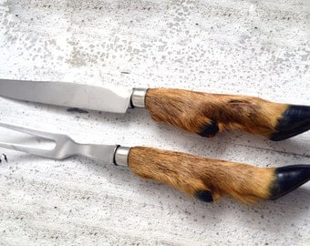 French Vintage Taxidermy Deer Hoof Handle Carving Set Carving Knife & Fork Mid Century Hooves