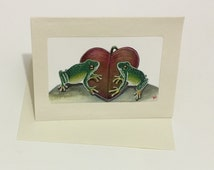 Hand painted card, anniversary, love, frogs. 'Love over the lilypad'. Free UK delivery.