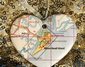 Hilton Head Map Ornament