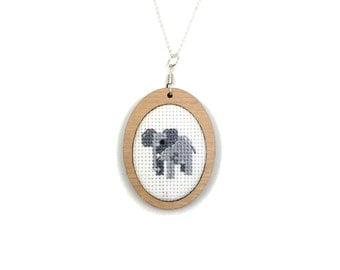 Elephant Necklace Animal Jewelry Elephant Pendant Cross Stitch Pendant Needlework Jewelry Cherry Wood Cute Baby Elephant CrossStitch
