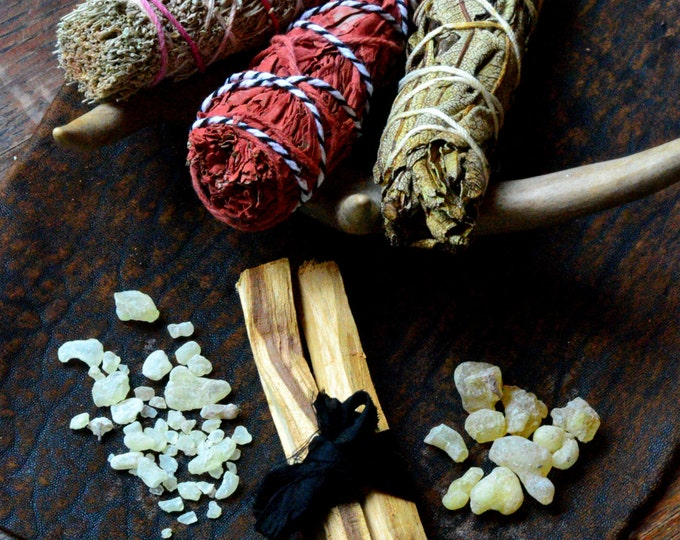 PROTECTION SMUDGE SET, White Sage, Dragons Blood, Yerba Santa, Palo Santo, Copal, Frankincense, pagan altar, wiccan alter