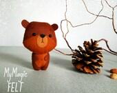 Little bear felt ornament Bear toys felt Nursery decorations animals felt Gift shower toys Woodland decorations