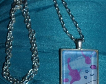 "Original art piece under glass necklace with 24"" chain."