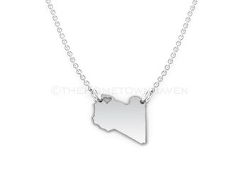 Libya Necklace - Libya map necklace, Libya pendant necklace, I love Libya necklace