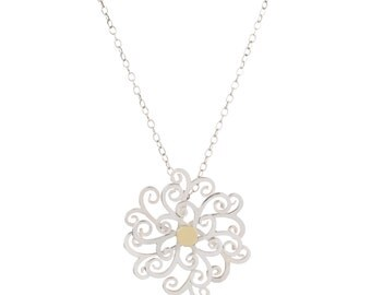 Fancy Necklace // 18ct gold & silver necklace, luxury necklace, kinetic spinning necklace