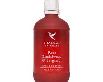 Rose, Sandalwood & Bergamot Bath, Body and Massage Oil with Orange, Jojoba, Vitamin E, Apricot Oil