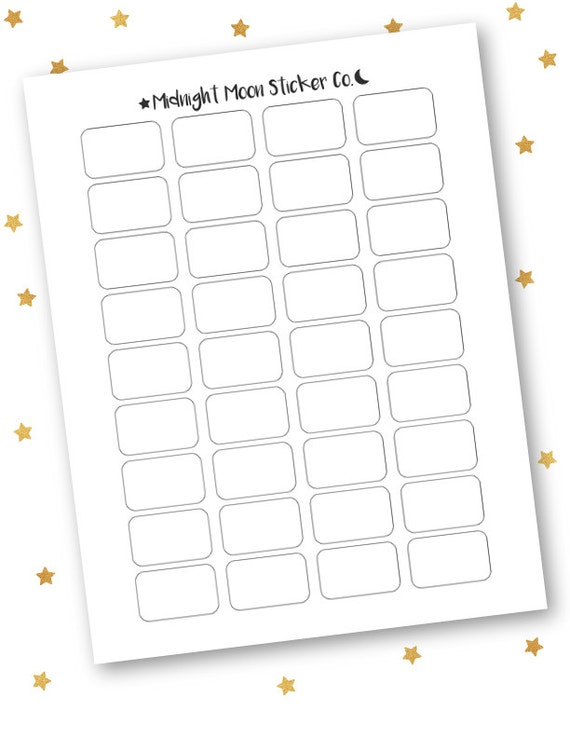 Diy printable template planner stickers blank half boxes for Half page sticker labels
