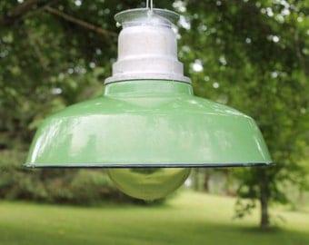 Vintage Large Warehouse Pendant Light, Crouse Hinds Green Porcelain Enamel Industrial Barn VDB3 Globe