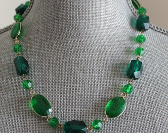 """Green Wired Bead Necklace, Made in West Germany Multi Shaped Green Clear Beads, 20"""" Necklace"""