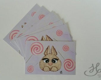 Rabbit print postcard fantasy and lollipop format A6