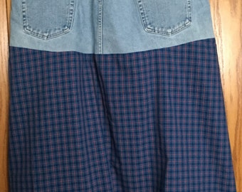 Upcycled Jean Skirt in Blue Plaid