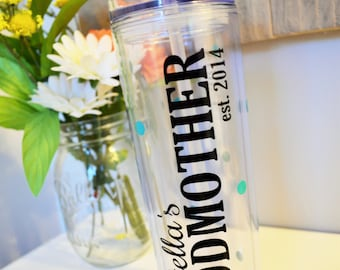 GODMOTHER Tumbler // Gift for Godmother // Godmother Gift // Christening Gift Ideas // Godmother Cup // Customize with Name and Colors