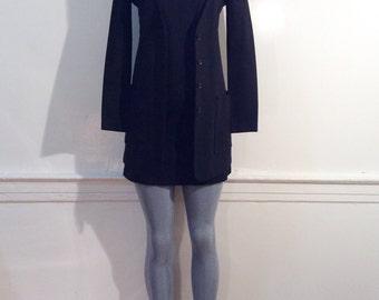 Vintage 60's BIBA mod dress suit, Sz.xs, solid black, micro mini, lightweight, 100% cotton