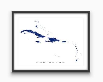 Caribbean Map Print, Caribbean Art, Islands