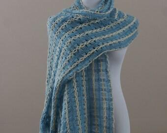 Cornflower Blue White & Gold Metallic 1960's Vintage Long Knit Fringed Scarf M-724