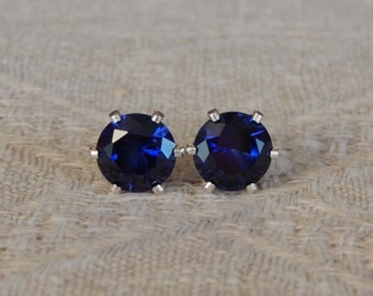 Sapphire 7 mm Studs, Sapphire Stud Earrings, Sapphire Posts, Sapphire Post Earrings, September Birthstone, Lab Created Sapphire