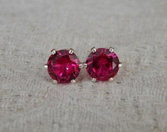 Ruby 5mm Studs, Ruby Stud Earrings, Ruby Earrings, Ruby Studs, Ruby Posts, Ruby Post Earrings, July Birthstone, Lab Created Ruby