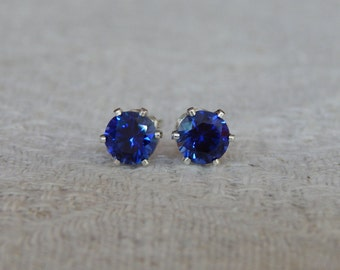 Sapphire 5mm Stud Earrings, Blue Sapphire Studs, Sapphire Posts, Sapphire Post Earrings, September Birthstone, Lab Created Blue Sapphire