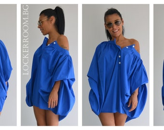 Oversized shirt /Asymmetric shirt /Summer shirt /Cotton shirt /Plus size shirt