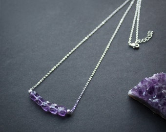 Amethyst silverplated necklace, delicate everyday
