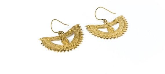 Tribal Brass Crescent Earrings hanging handmade, Brass, Ethnic Style , Tribal Earrings, Gift boxed, Free UK post BG12