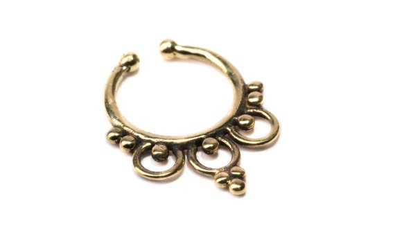 Septum Ring Brass Nickel Free Septum Fake Septum Tribal Jewelery Indian Nose Ring B22 Gift Boxed and Gift Bag Free UK Delivery