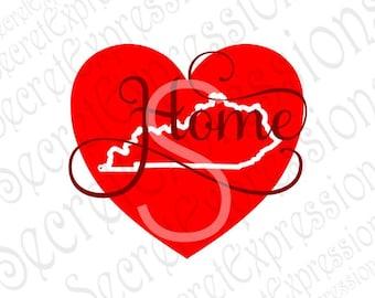 Kentucky Home Svg, Kentucky Svg, Home Heart Svg, Kentucky State Svg, Digital Cutting File, Eps, Png, JPEG, DXF, SVG Cricut, Svg Silhouette