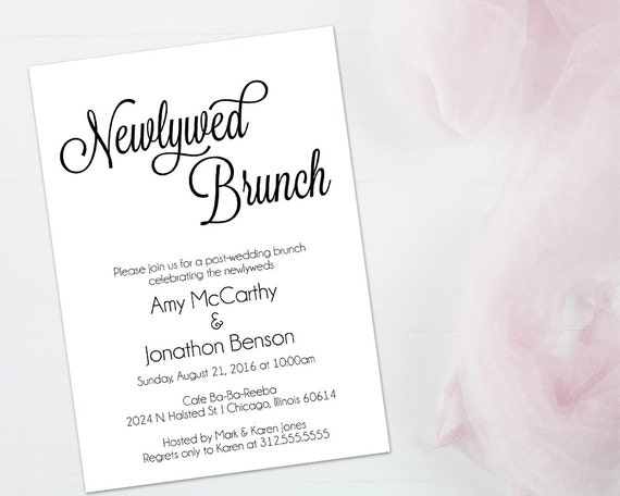 Day After Wedding Brunch Invitation: Brunch Invitation Newlywed Brunch Invitation Wedding