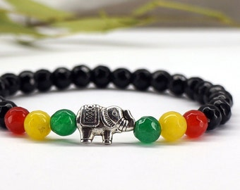 Rasta Elephant Bracelet, Rasta Bracelet, Gemstone Bracelet, Reggae Bracelet, Rasta Jewelry, Elephant Charm, Elephant Bracelet, Bob Marley