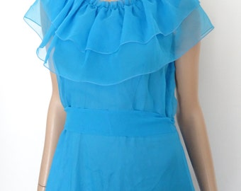 robe longue bleue vintage 70's/volants/bal/prom girl taille 42 - uk 14 - us 10