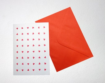 Valentine Card with hearts, folded, blank inside, A6, with envelope