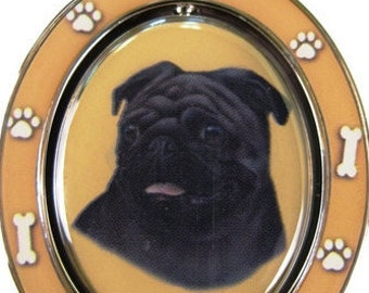 Black Pug Double Sided Black Pug Spinning Keychain With Black Pug Face Made Of Heavy Quality Metal Perfect for Pet Lovers