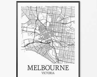 Melbourne Map Art Print, Melbourne Poster Map of Melbourne Decor, Melbourne City Map Art, Melbourne Gift, Melbourne Australia Art Poster