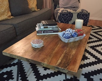 Reclaimed Indonesian Teak Wood Coffee Table With Steel Hairpin Legs