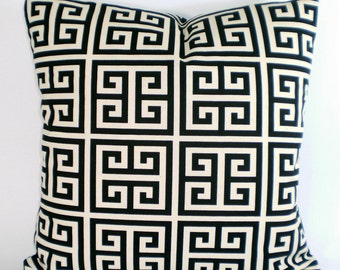 Black Cream Decorative Throw Pillow Covers Cushions Black Cream Natural Greek Key Towers Couch Bed Pillow Throw Pillow One or More All Sizes