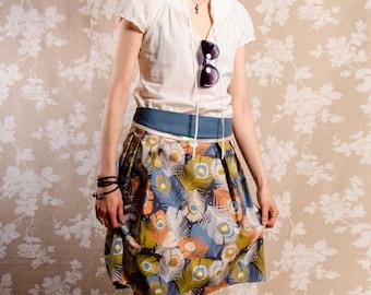 Skirt BIO-Cady: organic cotton, blue, green, orange, white, feathers