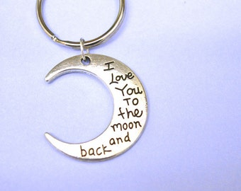 I love you to the moon and back keyring, personalize keychain, girlfriend gift, gift for boyfriend, keychains for couples, christmas gift