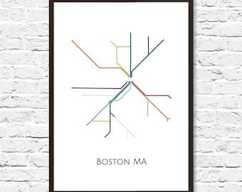 Boston, Boston Subway, Subway Art, Boston Metro Map, Boston Map, Boston Art, Boston Poster, Transit Map, Subway Map, Subway Poster Art