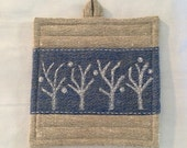 Hot pad - Winter trees - 100% rustic linen, hand block printed, embroidered - The Casa Marengo Collection