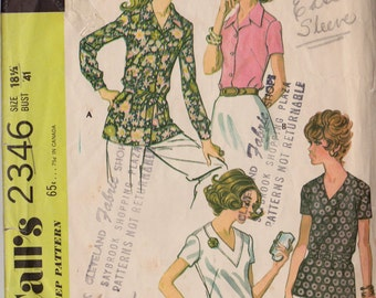 McCall's 2346 Vintage 1970 Blouse Pattern