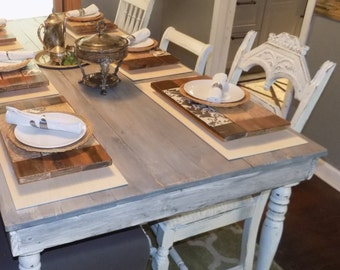 SOLD ~ Made to Order ~ Refinished Shabby Chic Farmhouse Table and Chairs ~ Antique White