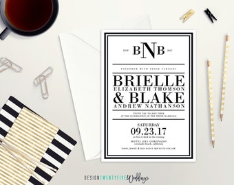 Modern Black & White Invitation Suite // 5x7 Invitation // Choose Your Set! // The Brielle Collection