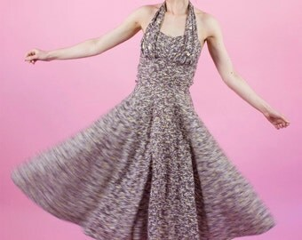 Vintage 1950s Sweetheart Cotton Halter Dress / Full Skirt / XS/S