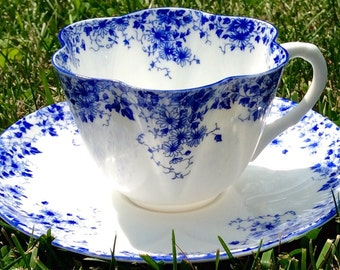 Mint Condition-Vintage Shelley Dainty Blue Teacup and Saucer