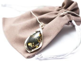 Dark Green Amber Necklace, amber pendant, baltic amber necklace, green amber pendant, dark amber, amber jewelry, amber jewellery, uk