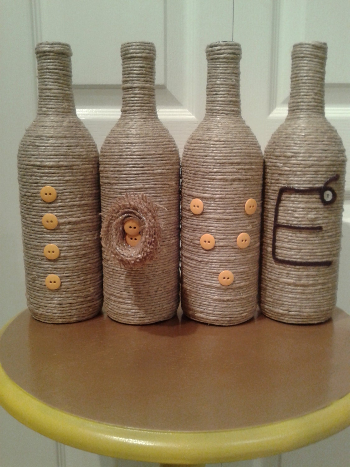 Yarn and Twine Wrapped Wine Bottles Mother's Day Gift |Twine Covered Wine Bottles