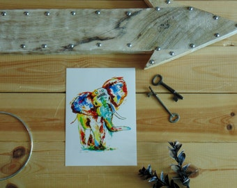 Postcard sized - Elephant At Print Painting