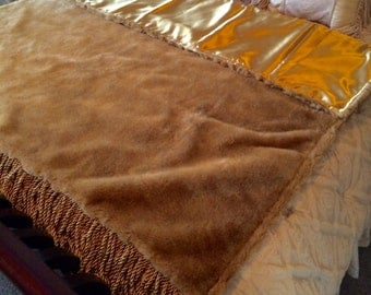 "Gold Faux Fur Throw - 58""x62"""