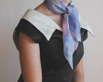 Square hand painted silk neckerchief - violet silk scarf
